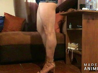 Teasing in my high heel sandals and shorts