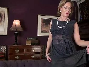 Betsy Blue, gorgeous mature in a grey dress