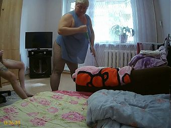 I masturbate to the cleaner and then fuck her