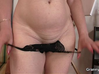 Hot grandma in sexy lingerie rides his young dick